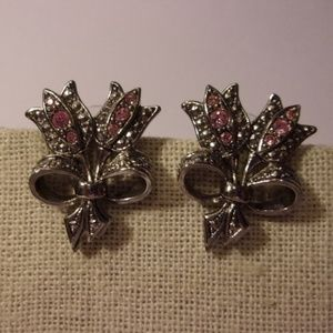 Avon Pink Rhinestone Tulip Pierced Earrings